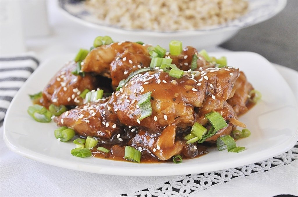 Honey Garlic Chicken topped with scallions