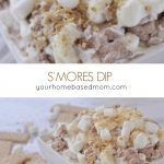 S'mores Dip is a fun way to enjoy all the flavor of a traditional s'mores without a fire! A marshmallow swirl mixed in with a ribbon of chocolate.