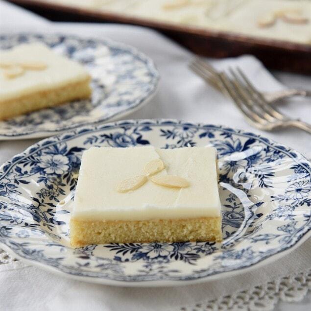 piece of almond sheet cake