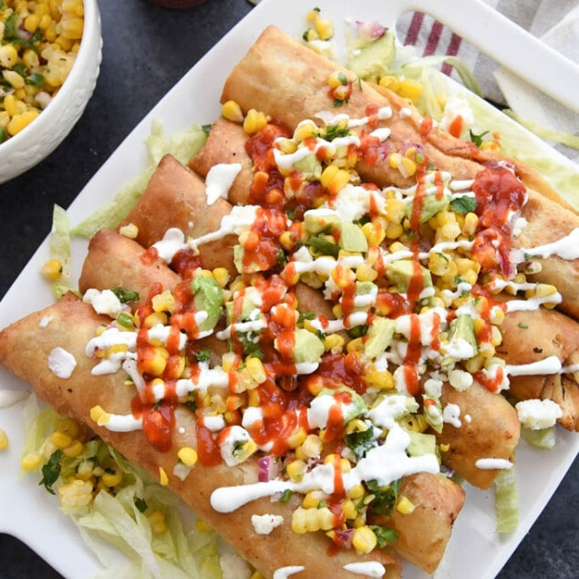 Chicken Flautas with corn salsa from Your Homebasedmom