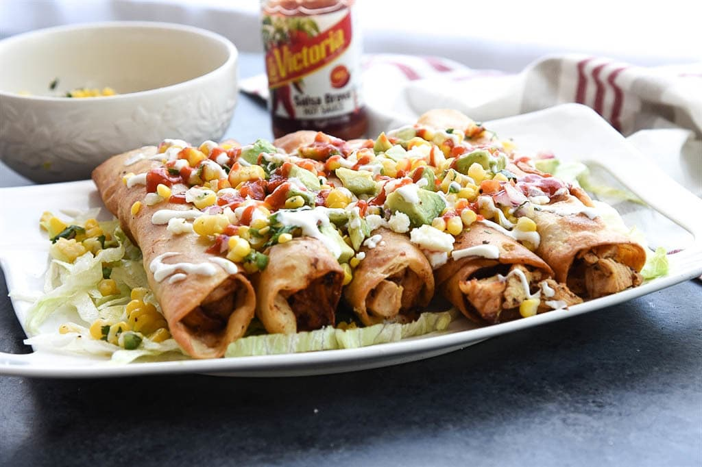 Chicken Flautas with fresh corn salsa | Your Homebased Mom