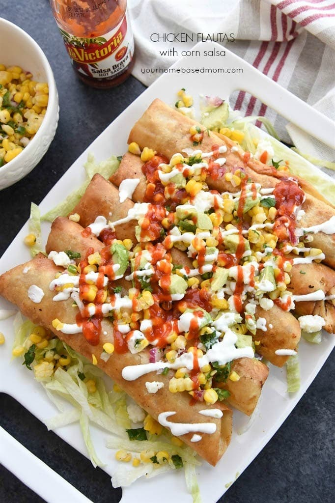 Chicken Flautas with corn salsa