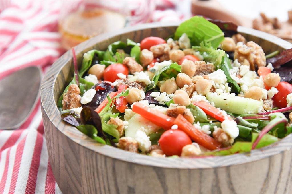 Mediterranean Salad with Za'atar Spiced Walnuts