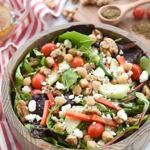 Mediterranean Salad with Za'atar Spiced Walnuts