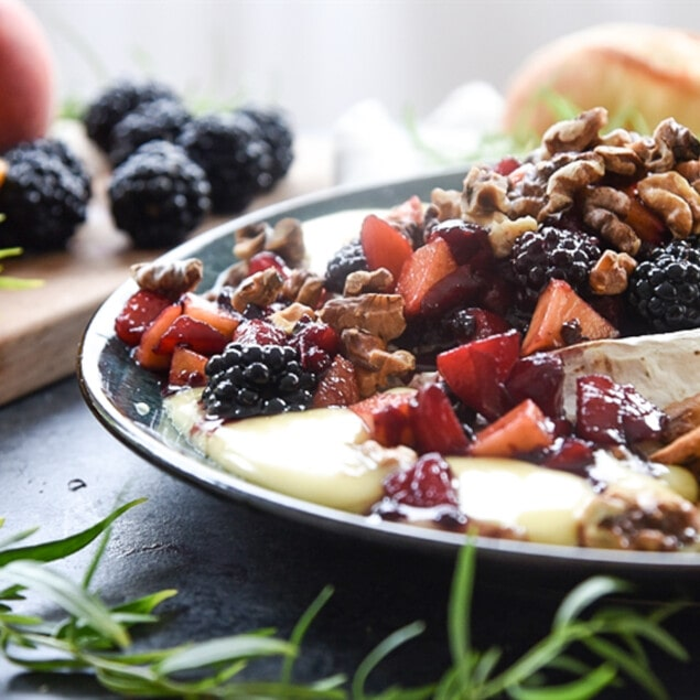 Baked Brie with Fruit and Toasted Walnuts