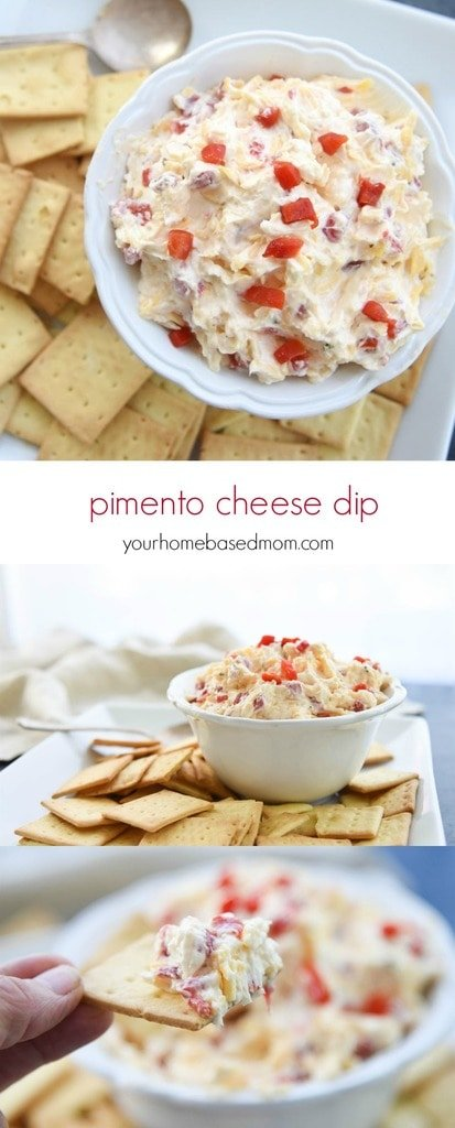 Pimento Cheese Dip is affectionately called the caviar of the south.  A combination of cheese, mayonnaise and pimento is delicious on a cracker or bread.