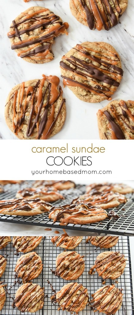 Caramel Sundae Cookies are an amazing combo of chocolate, toffee and caramel.  You won't even miss the ice cream.