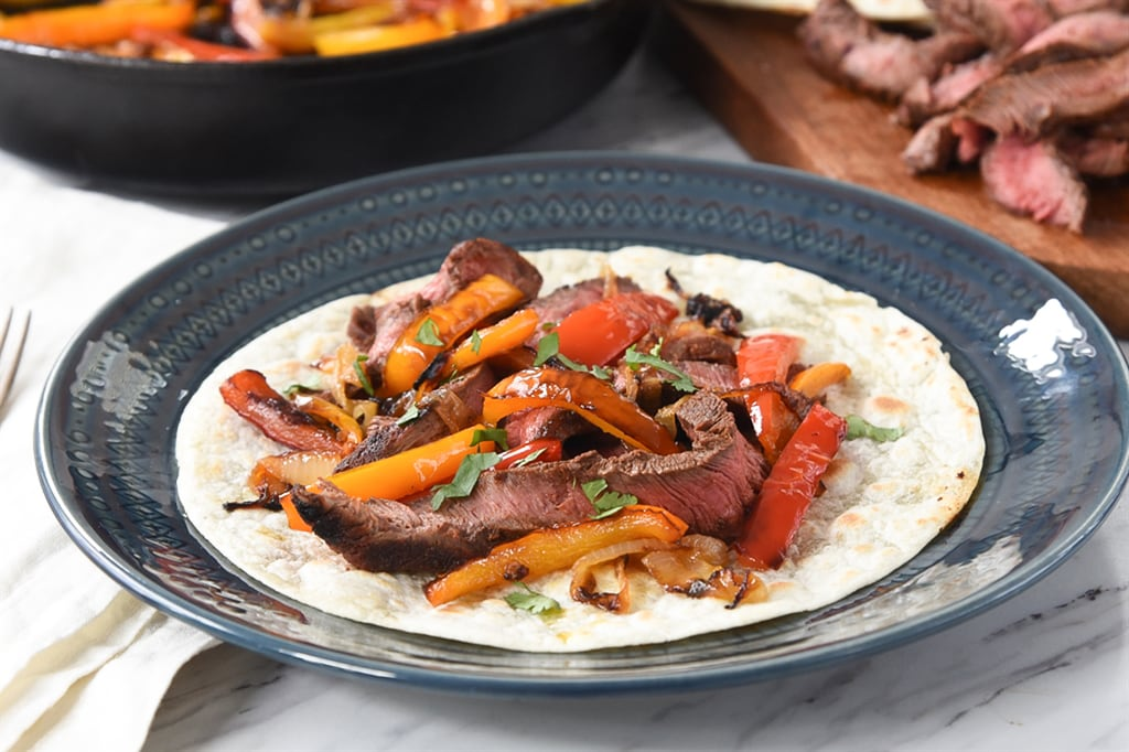 Flat Iron Steak Fajitas and peppers