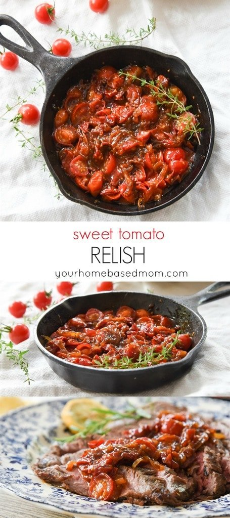 Sweet Tomato Relish is the perfect solution to a bumper crop of cherry tomatoes.  It tastes amazing on everything and all by itself!!