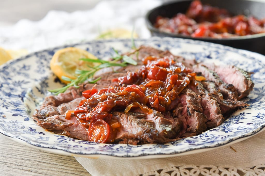 Sweet Tomato Relish and Flank Steak