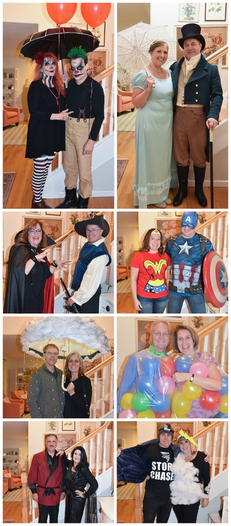 couples halloween party guests