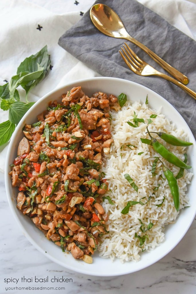 bowl of Spicy Thai Basil Chicken and rice