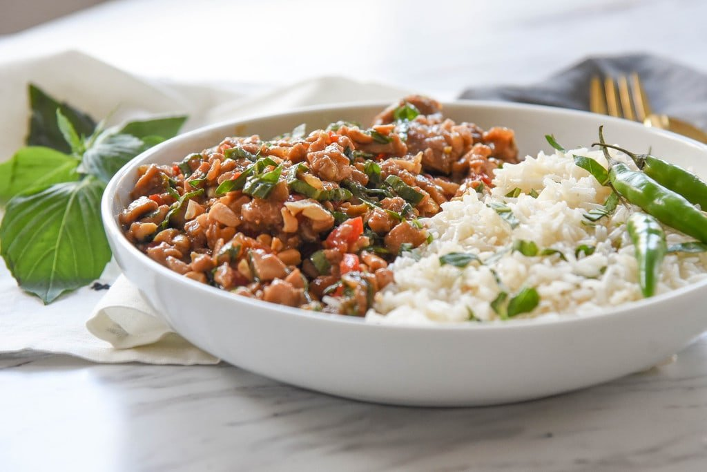 Spicy Thai Basil Chicken and rice