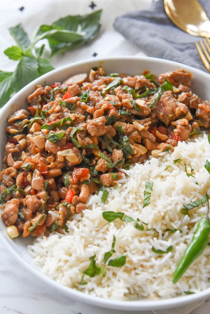 Spicy Thai Basil Chicken and rice in a bowl
