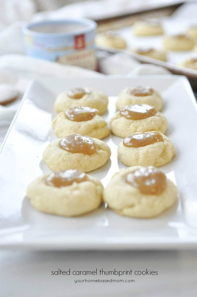 Salted Caramel Thumbprint Cookies are a fun variation on a classic cookie.  The salted caramel takes them over the top!