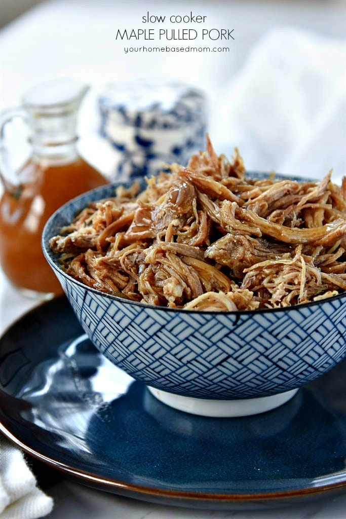 shredded pork with maple glaze in a blue bowl