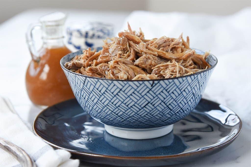 bowl of shredded maple pulled pork