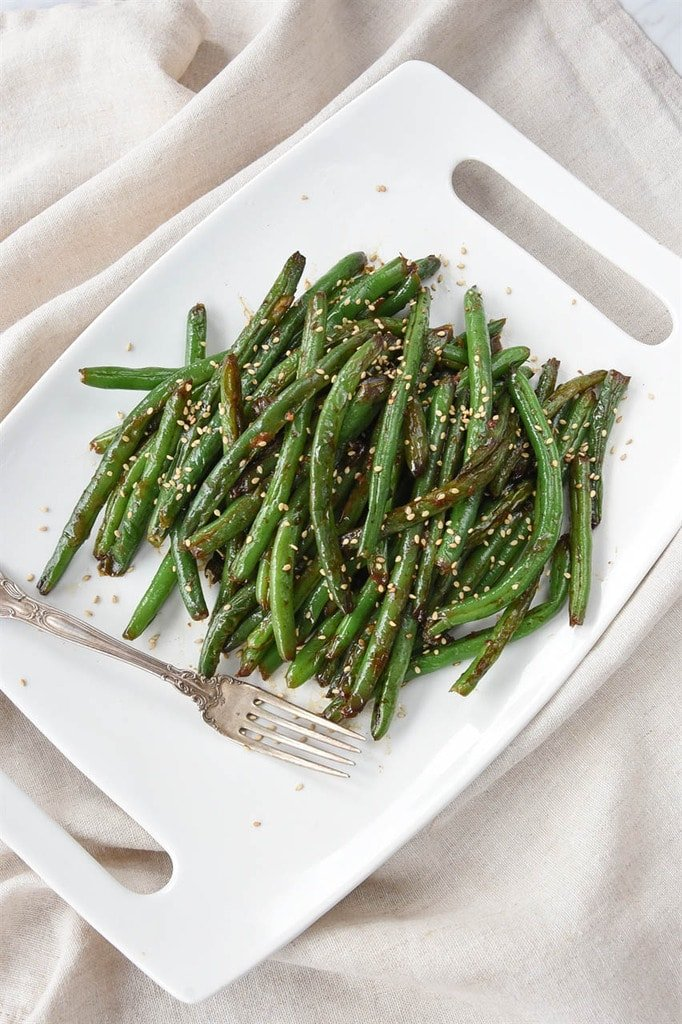 green beans in a serving platter