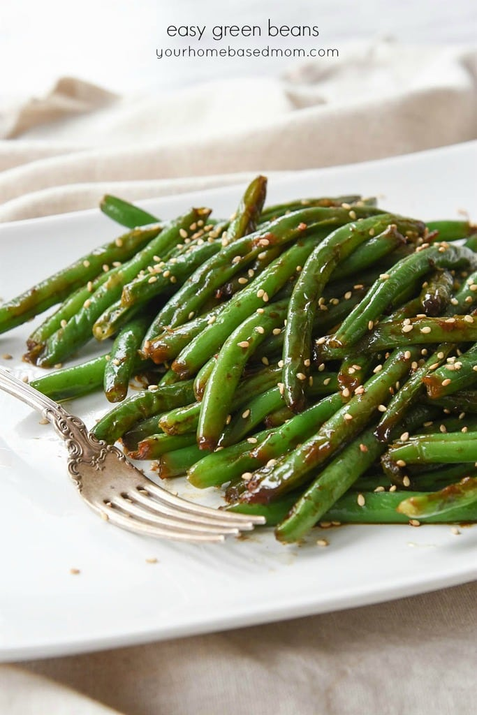 plate of Green Beans with garlic and soy sauce