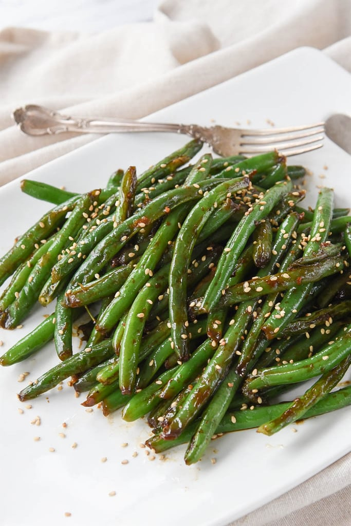 restaurant style green beans on a plate