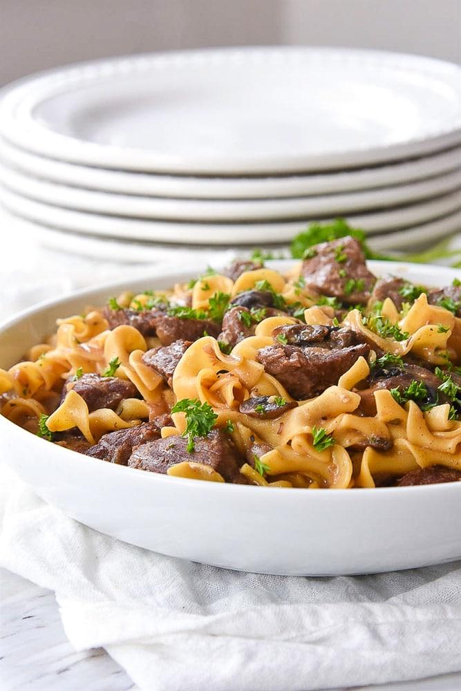 bowl of instant pot beef stroganoff