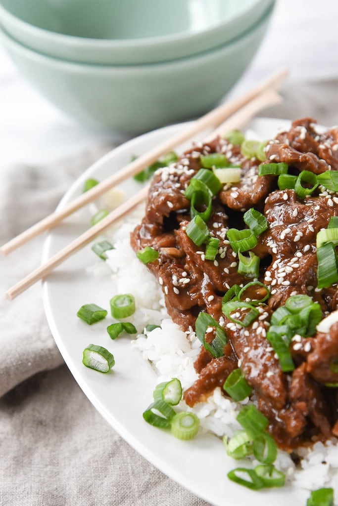 Instant Pot Mongolian Beef with rice and scallions