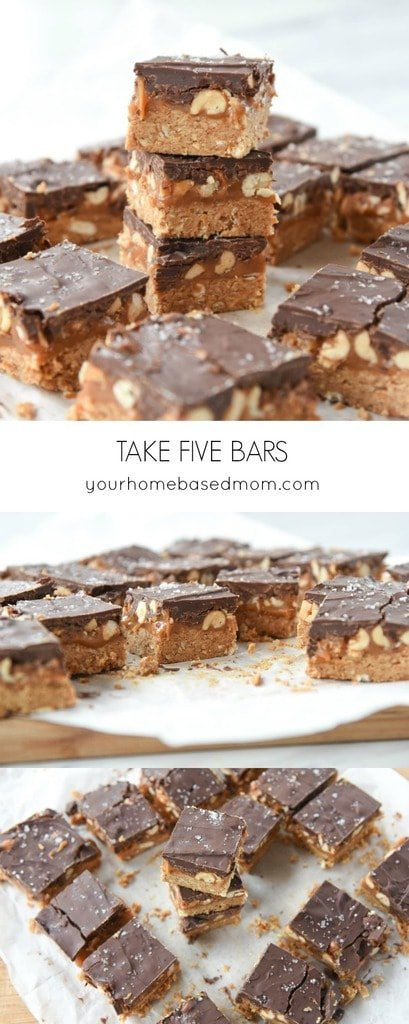 These Take Five Bars are salty, sweet, crunchy and chewy all in one bite.  What more could you ask for in a bar cookie?