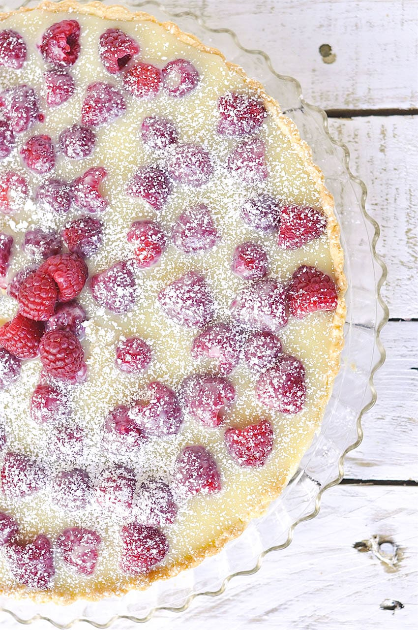 overhead shot of raspberry tart