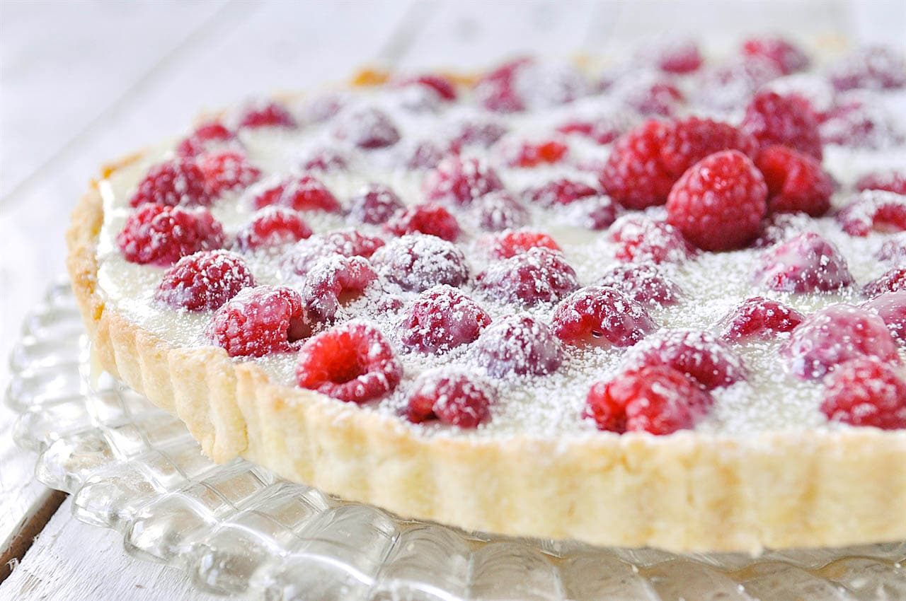 raspberry tart on a plate