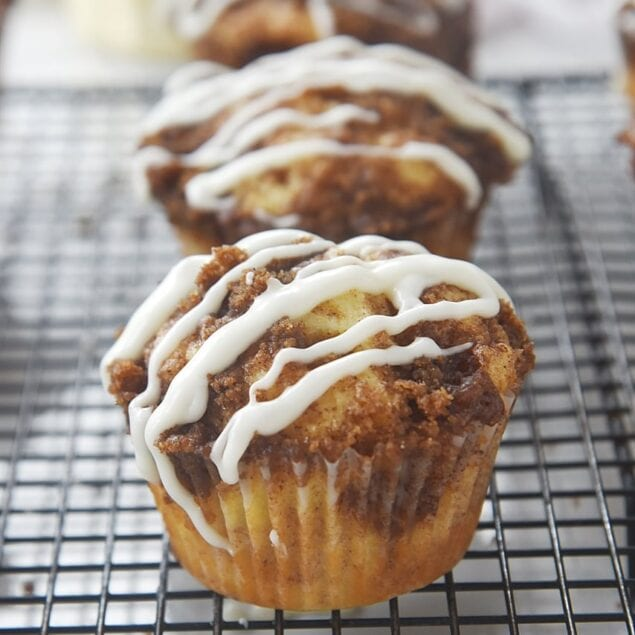 cinnamon muffins on a cooling rack