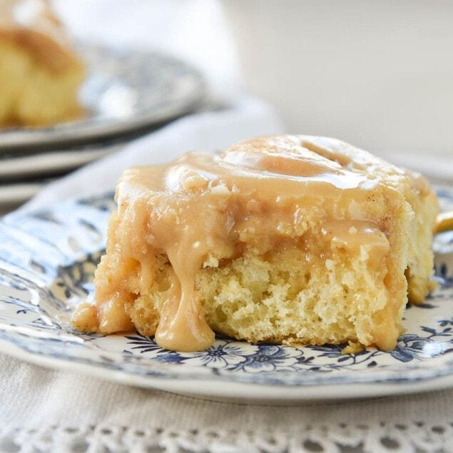 Vanilla Pudding Cinnamon Rolls with Caramel Frosting