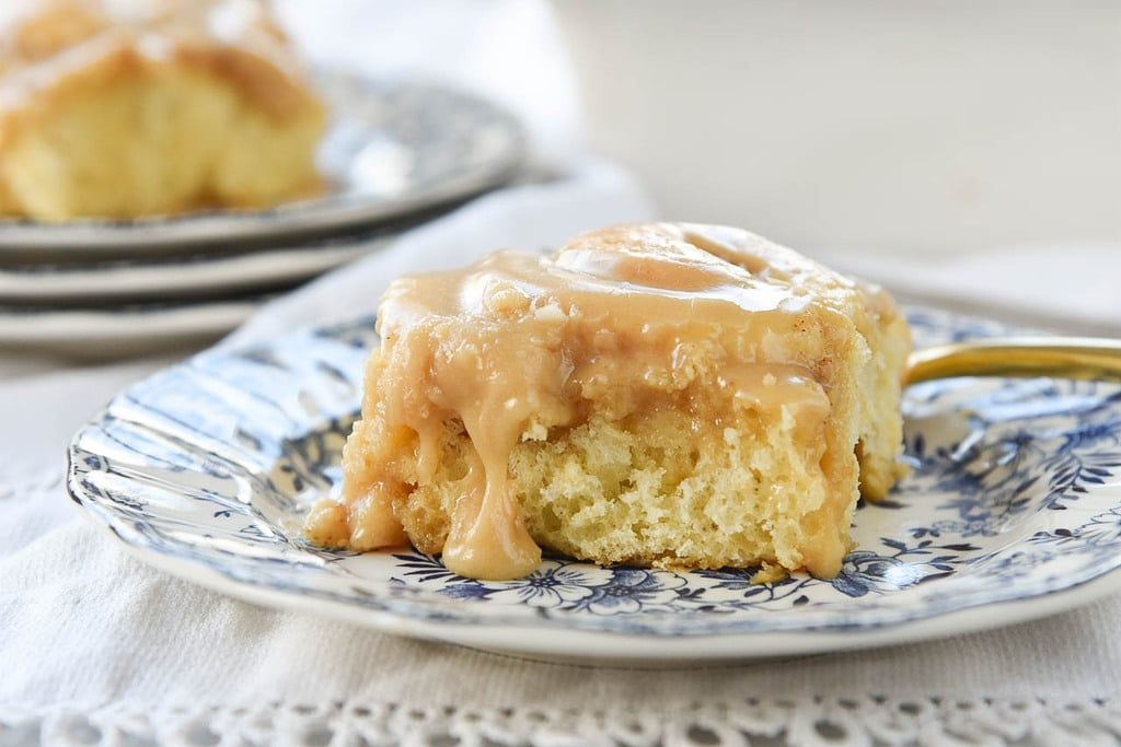 Vanilla Pudding Cinnamon Rolls with Caramel Frosting
