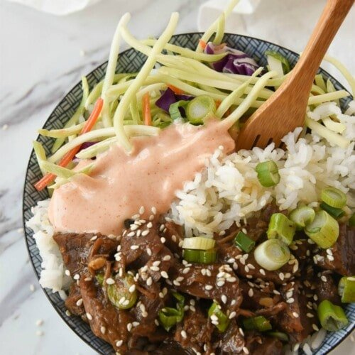 Instant Pot Korean BBQ Beef Bowl with Yum Yum Sauce