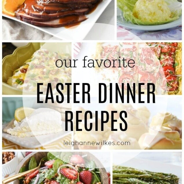 collage of easter dinner ideas