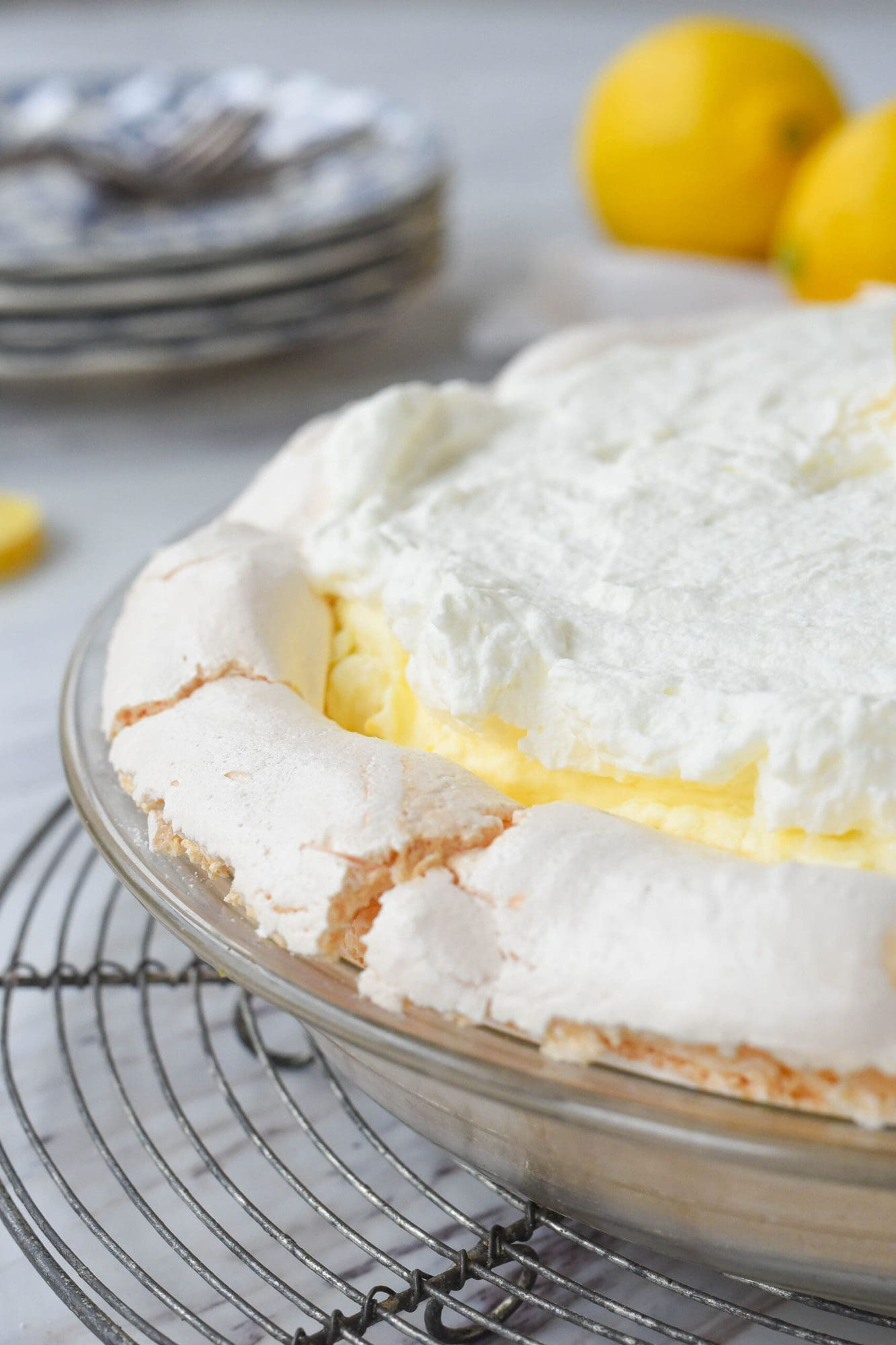 side view of lemon pie
