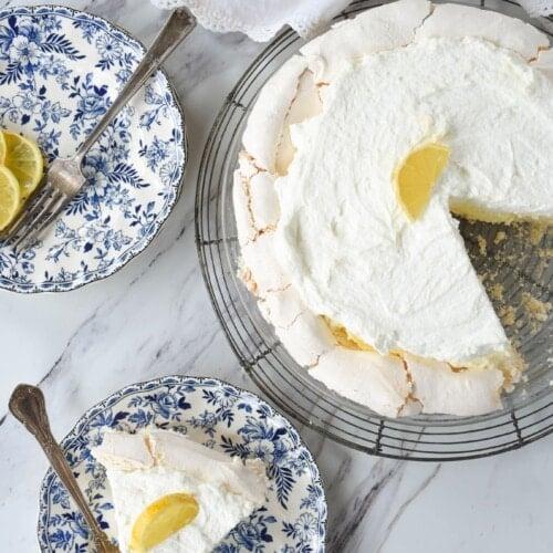 slice of lemon angel pie