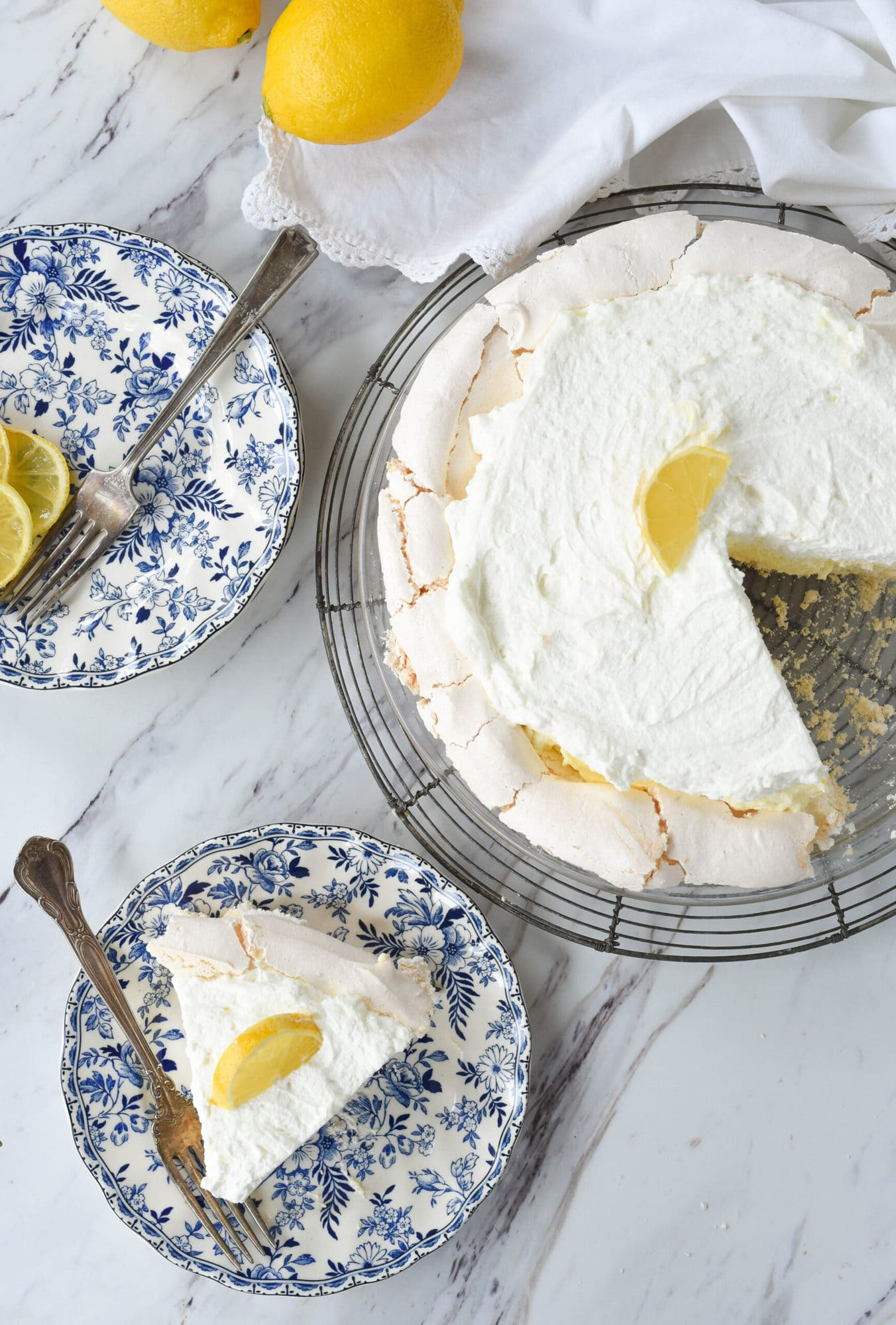 slice of lemon angel pie
