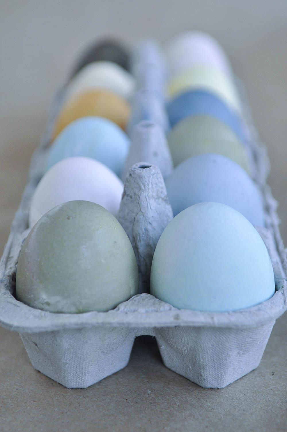 dyed easter eggs in egg holder