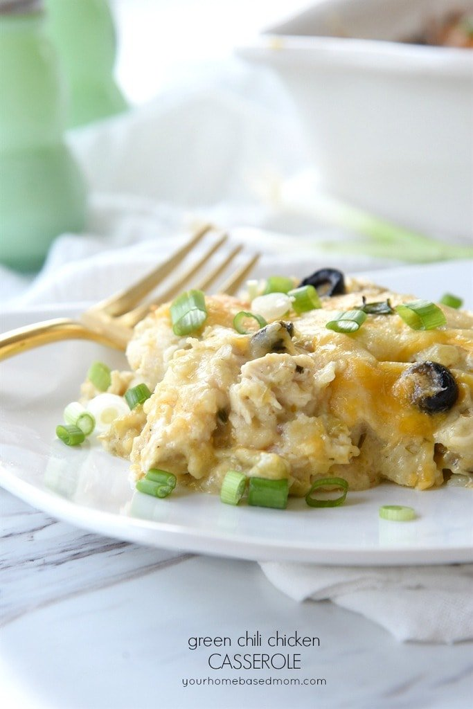 Green Chili Chicken Casserole on a white plate