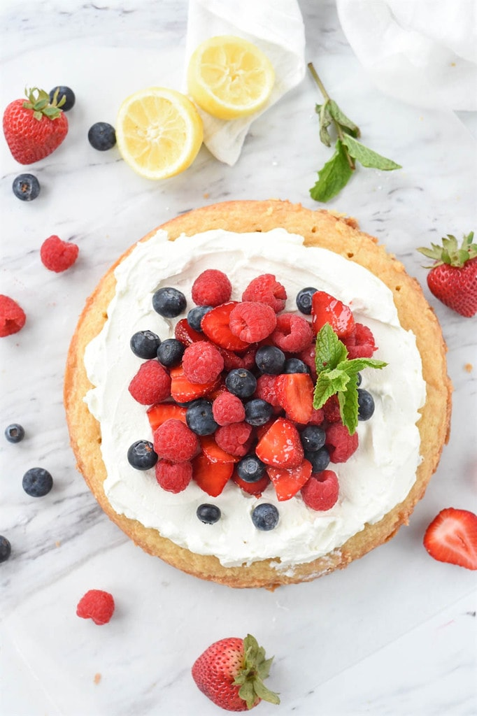 LEMON pound cake with fresh berries and whipped cream