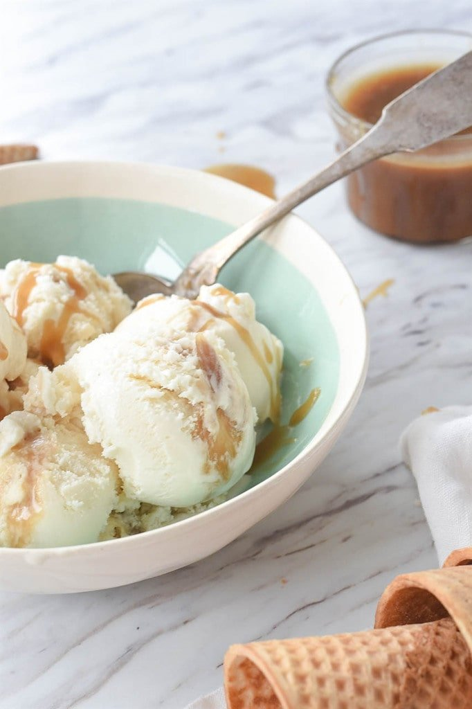 Bowl of Homemade Salted Caramel Ice Cream