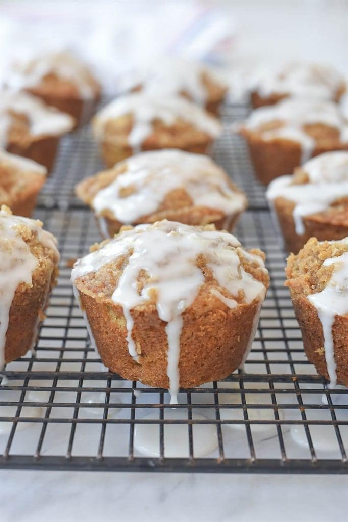 Zucchini Muffins with Lemon Glaze on cooling rack