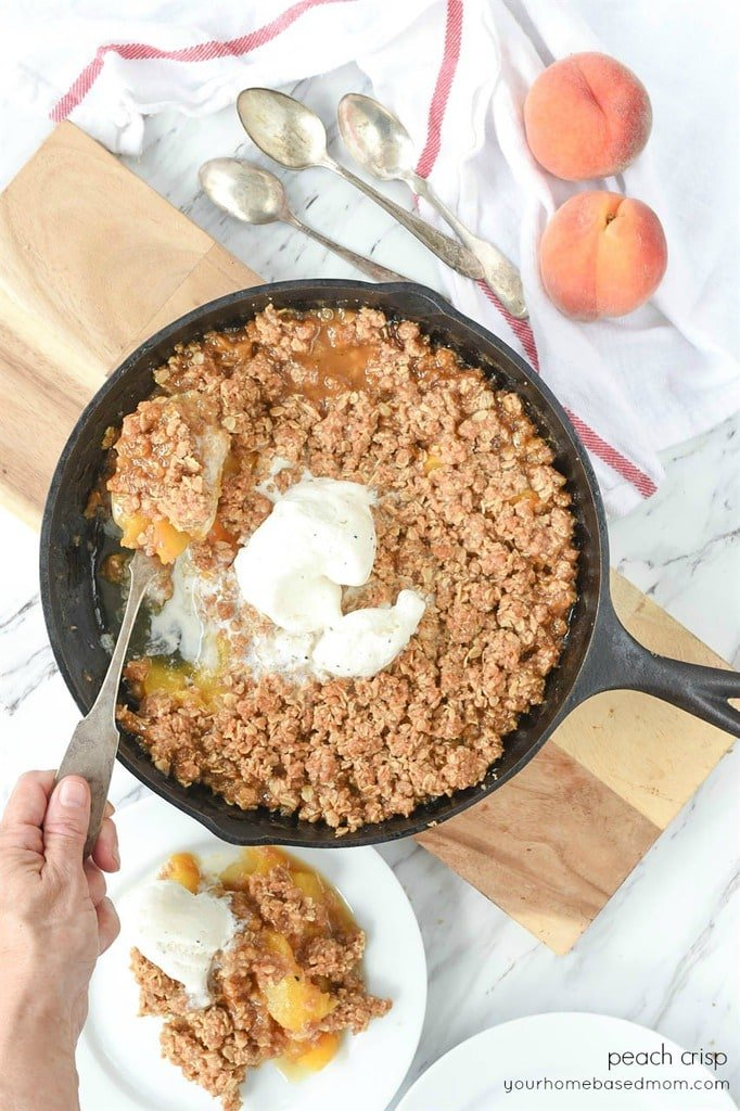 Peach Crisp in a Cast iron pan