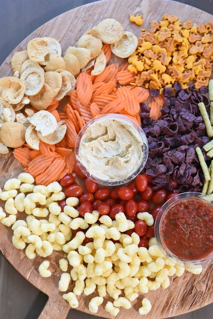 healthy snacks for kids on a snack board