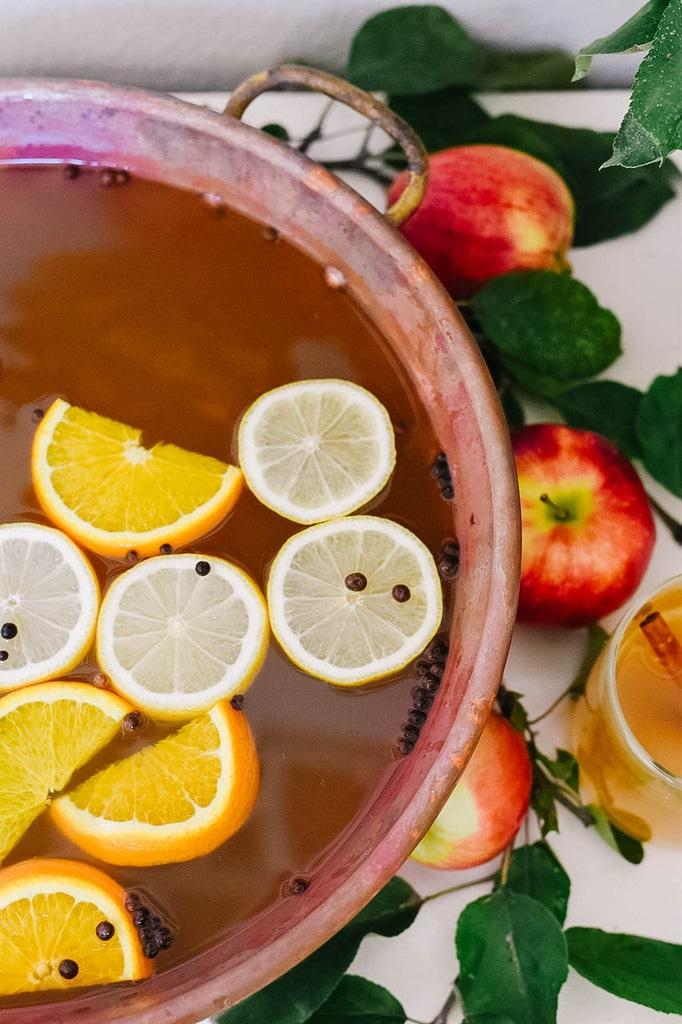 pot of hot apple cider