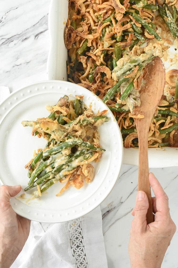 serving green bean casserole