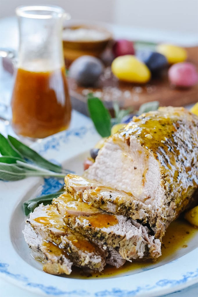 sliced Instant Pot Pork Roast on a serving platter