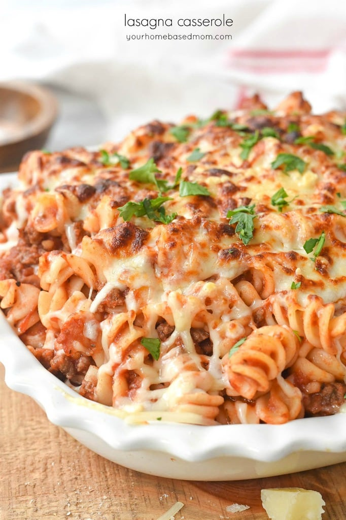Lasagna Casserole in a white serving dish
