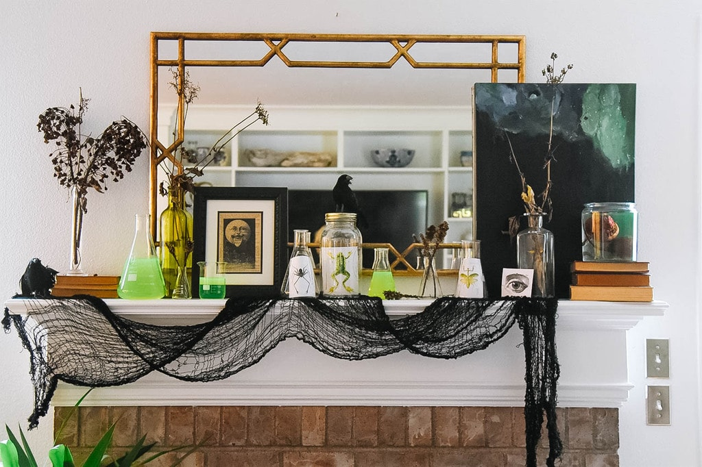Mad Scientist Halloween Mantel