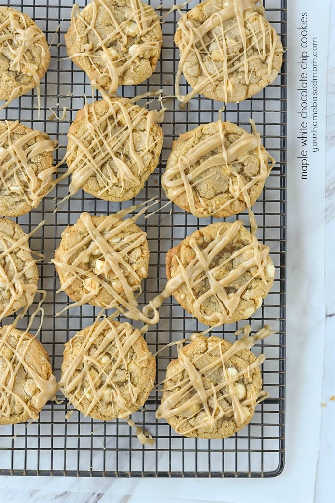 Maple White Chocolate Chip Cookies on a cooling rack